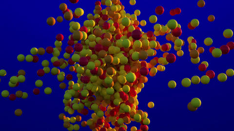 Yellow and Orange Balls Moving, 3D Animation on Blue Background Animation
