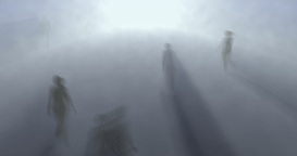 Motion Blurred People, spirits walking in fog, mist, after life plane Animation