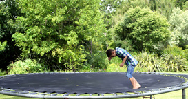 Cute boy playing and jumping on the trampoline Live Action