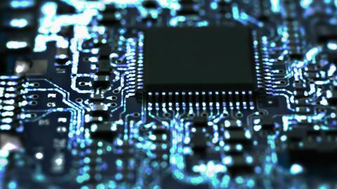4K Circuit Board / Processor Chips / Data Streams Footage