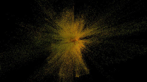 Golden Powder Explosion, 3D Animation on Bllack Background Animation