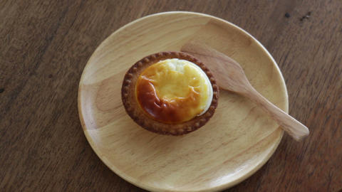 Sweet Time Of Delicious Cheese Tart Footage