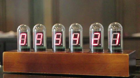 Digital Red Number In Tube Clock Footage