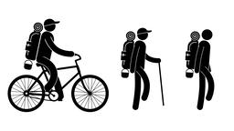 Pictogram man - tourist walking, and rides on bicycle Animation