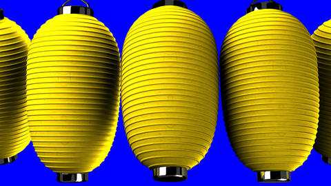 Yellow paper lanterns on blue chroma key CG動画