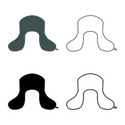 Earflapped fur hat Ushanka russion hatwear icon set grey black color Vector