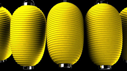 Yellow paper lanterns on black background CG動画