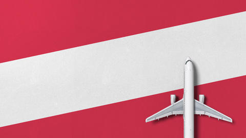 Commercial airplane on the flag of Austria. Travel related conceptual 3D Live Action