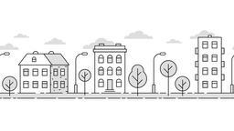 City landscape minimalistic style contour CG動画素材
