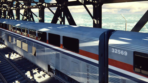 High-speed train, the train passes over the railway bridge at sunrise. Public Animation
