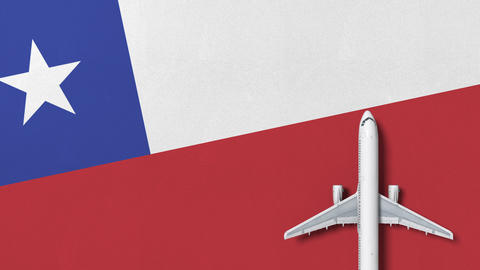 Commercial airplane on the flag of Chile. Travel related conceptual 3D animation Live Action