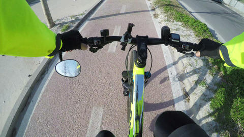 First person view of a mountain bike ride on a bike lane in Sardinia, Italy ビデオ