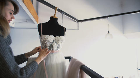 Attractive Young Fashion Designer Woman Working at Home Studio. Tailor Makes Footage