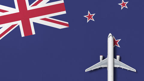Commercial plane on the flag of New zealand. Tourism related conceptual 3D Footage
