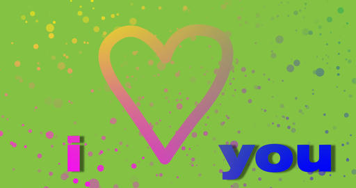 I love you.Valentine's day holiday greetings concept, green background Animation
