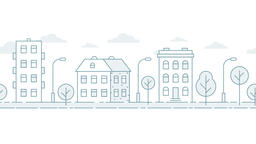 Moving seamless urban landscape in a minimalist style Animation