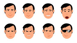 Cartoon man's head set of emoji Animation