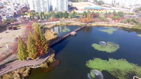 Aerial View of Yeonji Park, Gimhae, Gyeongsangnamdo, South Korea Asia Live Action