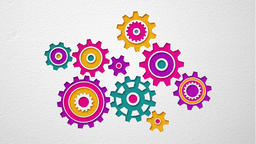 Beautiful colored gears of various shapes spin into engagement Animation