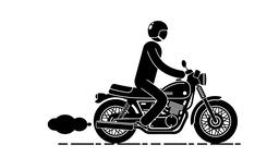 Pictogram man in a helmet is riding a classic motorcycle Animation