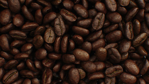Beautiful Abstract Roasted Coffee Beans Fall Down and Fill the Screen Making Animation