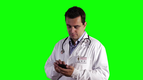 Young Doctor Smartphone Texting Greenscreen 6 Stock Video Footage