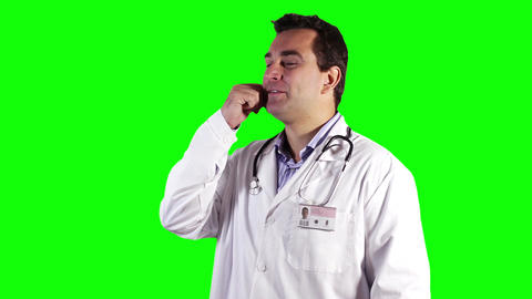Young Doctor Tablet PC Cell Phone Good News Greenscreen 19 Footage