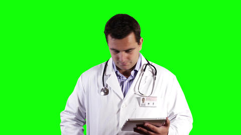 Young Doctor Tablet PC Cell Phone Greenscreen 16 Stock Video Footage