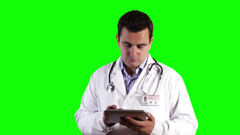 Young Doctor Tablet PC Greenscreen 10 Stock Video Footage