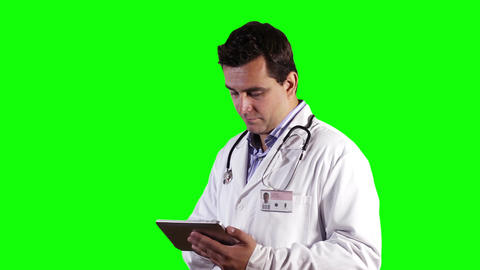 Young Doctor Tablet PC Greenscreen 14 Footage