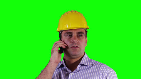 Young Engineer Cell Phone Close Up Greenscreen 25 Stock Video Footage