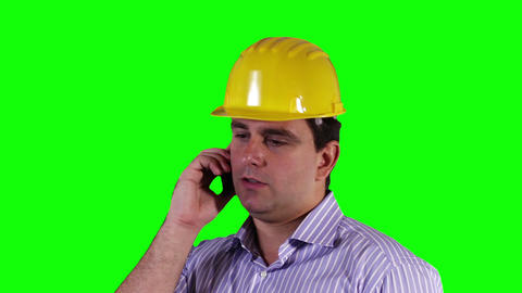 Young Engineer Cell Phone Close Up Greenscreen 25 Footage