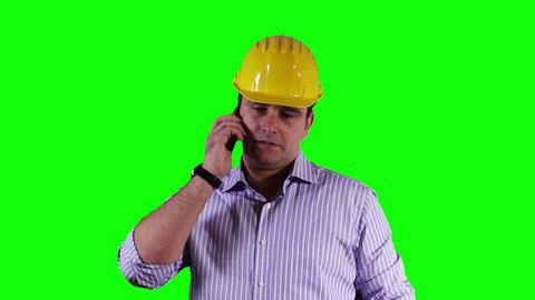 Young Engineer Cell Phone Documents Greenscreen 24 Stock Video Footage