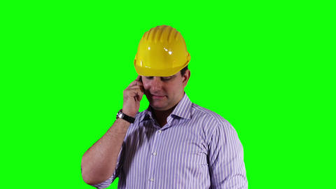 Young Engineer Cell Phone Good News Greenscreen 10 Stock Video Footage
