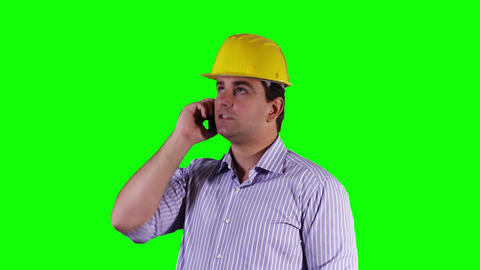 Young Engineer Cell Phone Greenscreen 1 Stock Video Footage