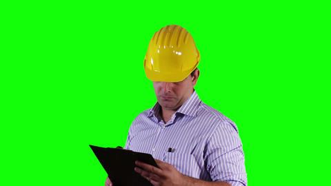 Young Engineer Checking Documents Good News Greenscreen 20 Footage