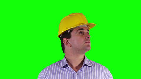 Young Engineer Looking Around and Up Greenscreen 27 Footage