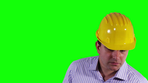 Young Engineer Looking Down Greenscreen 28 Stock Video Footage
