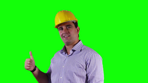 Young Engineer Satisfied Thumbs Up Greenscreen 14 Stock Video Footage