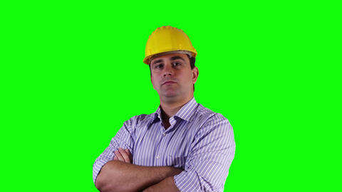 Young Engineer Serious Greenscreen 3 Stock Video Footage
