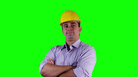 Young Engineer Smiling at Camera Greenscreen 2 Stock Video Footage