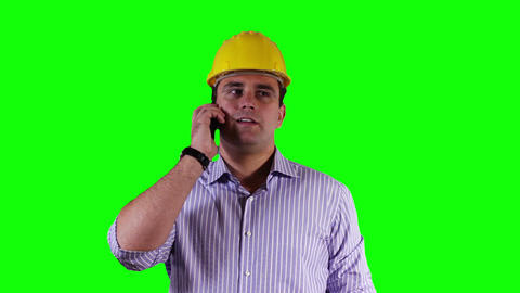 Young Engineer Tablet PC Cell Phone Greenscreen 17 Footage