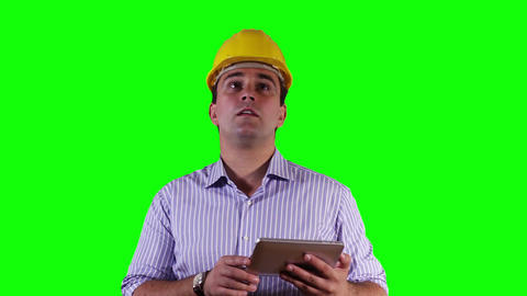 Young Engineer Tablet PC Greenscreen 12 Stock Video Footage