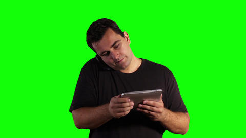 Young Man Angry Tablet PC Cell Phone Greenscreen 15 Stock Video Footage
