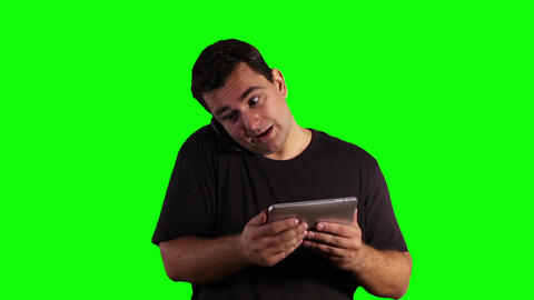 Young Man Angry Tablet PC Cell Phone Greenscreen 15 Footage