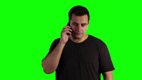 Young Man Cell Phone Bad News Greenscreen 06 Footage