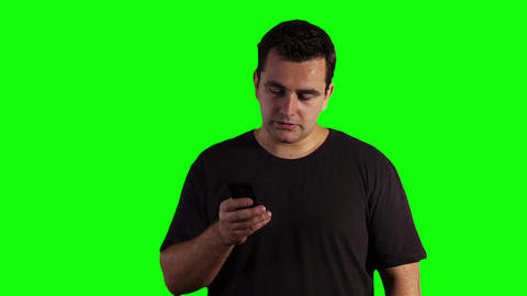 Young Man Cell Phone Bad News Greenscreen 06 Stock Video Footage