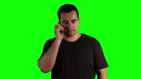 Young Man Cell Phone Talking Greenscreen 04 Footage