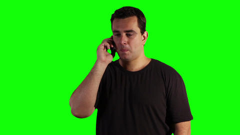 Young Man Cell Phone Talking Greenscreen 04 Stock Video Footage