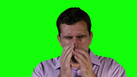 Young Man Coughing Hard Green Screen 21 Footage